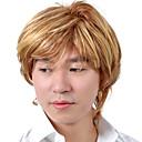 男性用★高品質合成繊維ショートストレートウィッグ★ブロンド/金髪★キャップレス0463-460