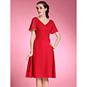 A-line Plus Sizes Mother of the Bride Dress - Ruby Knee-length Short Sleeve Chiffon
