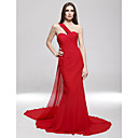 Formal Evening/Military Ball Dress - Ruby Plus Sizes Trumpet/Mermaid One Shoulder Sweep/Brush Train Chiffon