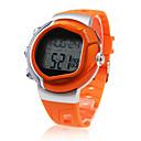 男性 スポーツウォッチ LCD 脈拍計付き カレンダー クロノグラフ付き アラーム デジタル ラバー バンド オレンジ