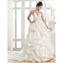 Lanting A-line Halter Court Train Taffeta Wedding Dress