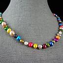 4-9mm rainbow barevný skutečné sladkovodní perlový náhrdelník - 18 palců