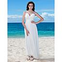 Lanting Bride® タイト/コラム 小柄 / 大きいサイズ ウェディングドレス - シック&モダン / 披露宴ドレス ホワイトドレス フロア丈 Vネック シフォン とともに