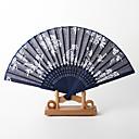 """Bavlna Fanoušci a slunečníky-# Piece / Set Ruční ventilátor Květinový motiv Bílá Modrá 21 cm na výšku × 37 cm na šířku (8 ¼"""" V x 14 ½"""" Š)"""