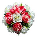 """Svatební kytice Kulatý Růže Kytice Svatba Satén Červená 28 cm (cca 11,02"""")"""
