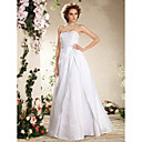 A-line/Princess Plus Sizes Wedding Dress - White Floor-length Strapless Taffeta