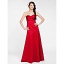 Lanting Bride® Na zem Satén Šaty pro družičky - A-Linie / Princess Bez ramínek / Srdce Větší velikosti / Malé s Šerpa / Stuha / Křížení