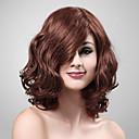 capless 100% capello umano medio lunghi capelli ricci parrucca