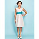 Lanting Bride® Do koljena Taft Haljina za malu djeverušu A-kroj / Kroj uz tijelo V izrez Prirodni struk sCvijeće / Traka / vrpca /