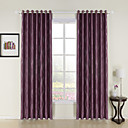 (Two Panels) Long River Jacquard Purple Room Darkening Curtain
