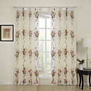 (Two Panels) Fancy Print Flower Sheer Curtain
