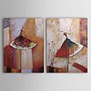 Ručně malované Abstraktní Horizontálně Dva panely Plátno Hang-malované olejomalba For Home dekorace