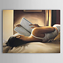 伸張フレーム付き手描き人の油絵