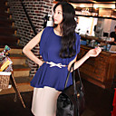 Women's Casual/Daily Simple / Street chic Summer Blouse / Shirt,Solid Sleeveless Blue / Yellow Thin