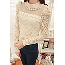 Women's Beaded Collar Lace Embroidery Puff Sleeve Blouse