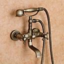 Antikni Kada i tuš Tuš uključen with  Keramičke ventila Dvije ručke dvije rupe for  Antique Brass , Slavina za tuš / Slavina za kadu