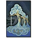 Tištěné plátno umění Klasická Folies Bergere Modrá Vintage Collection Apple se protáhl Rám