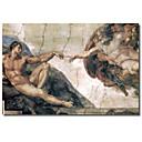 Tiskani Canvas Art Vintage Michelangelo, Stvaranje čovjeka od strane Apple Vintage Collection s produljenom Frame