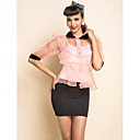 TS Organza Contrast Collar Two Pieces Blouse