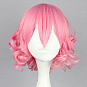 ロリータウィッグ 甘ロリータ ロリータ ショート / カール ピンク ロリータウィッグ 32 CM コスプレウィッグ ゼブラプリント かつら のために 女性