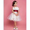 A-kroj / Princeza Do koljena Haljina za djevojčicu s cvijećem - Saten / Til Bez rukava Kvadrat / Naramenice sDrapirano / Cvijeće / Traka