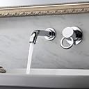 現代風 壁式 シングルハンドル二つの穴 in クロム バスルームのシンクの蛇口