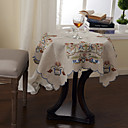 Linen Colorful Embroidery Floral Table Cloths