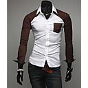 Color block Muška Majica Ležerne prilike,Mješavina pamuka Dugih rukava Crna / Plava / Smeđa