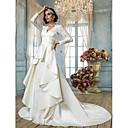 Lanting Bride® Aライン 小柄 / 大きいサイズ ウェディングドレス - クラシック/タイムレス / エレガント/ゴージャス ビンテージ チャペルトレーン Vネック レース / サテン とともに