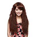 Nadolijevanja Kvalitetni sintetičke Long Kovrčava smeđa kosa perika Fluffy