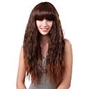 Nadolijevanja Long Sintetička Light Brown ravnu kosu Wig Cijeli Bang