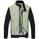PPZ Muška Casual Stand Collar PU srastanje Jacket (Zeleni)