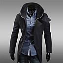 男性用 プレイン カジュアル トレンチコート,長袖 コットン混,ブラック