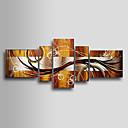 伸張フレーム付き手描き抽象油絵 - 5のセット