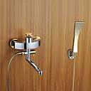 Současné Nástěnná montáž Včetne sprchové hlavice with  Keramický ventil Single Handle tři otvory for  Pochromovaný , Sprchová baterie