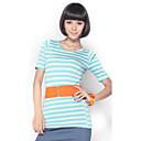 Unifoショー女子フィットストライプハーフスリーブライトブルーシャツ