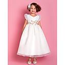 Lanting nevjesta ® a-linije / princeza čaj duljine cvijet girl haljina - Organza kratki rukav v-izrez s naljepcima