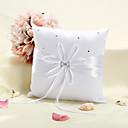 Starlight Ring Pillow Ve bílého saténu s rozptýlenými kamínky