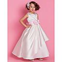 Lanting Bride A-Linie / Princess Na zem Šaty pro květinovou družičku - Satén Bez rukávů Kopeček s Květina(y) / Šerpa / Stuha