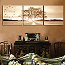 キャンバス3本でのモダンなスタイルの木の壁時計