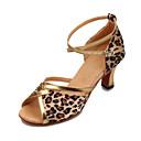 Non Prilagodljiv - Ženske - Plesne cipele - Latin / Balska sala - Satin / Vještačka koža - Masivnijom Heel - Leopard