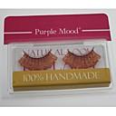 1ペアプロ高品質ハンドメイド合成繊維毛のゴールデンレッドカラー太いロングシマーフレークスタイルつけまつげ