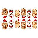 12PCS Mini Pet Pes s vánoční Hat Pattern Světelný Nail Art samolepky