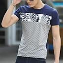 メンズラウンドネックカジュアル花柄のステッチTシャツ