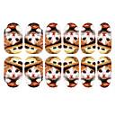 12PCSラブリー子猫柄ルミナスネイルアートステッカーの帽子をかぶる