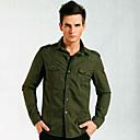 Senyue Pánské bavlněné Pure Color Long Sleeve Shirt