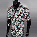 男性用 プリント カジュアル シャツ,半袖 コットン混 ブラック / ブルー / グリーン / レッド