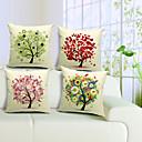 set od 4 kreativnog stabla pamuka / lana dekorativni jastuk naslovnici