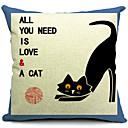 国黒猫コットン/リネン装飾枕カバー