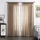 2パネル ウィンドウトリートメント 田舎風 , 純色 リビングルーム リネン/ポリエステル混 材料 シアーカーテンシェード ホームデコレーション For 窓
